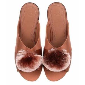 A-D Daughters pink satin powder puff slide )SZ 6